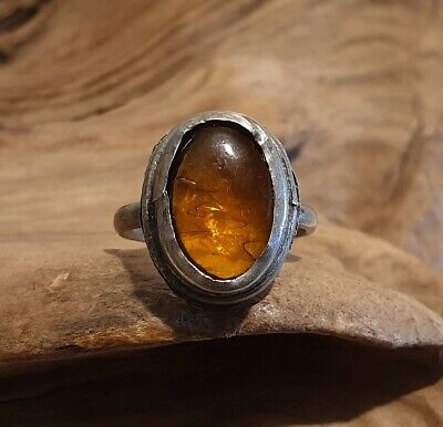 Antique Post Medieval Near Eastern Ring with Amber Glass Cabochon