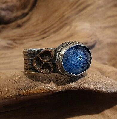 Antique Near Eastern Ring with Blue Glass Cabochon