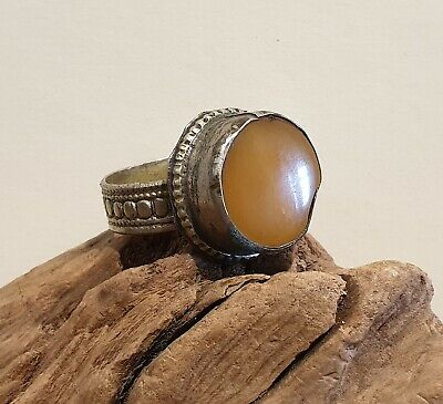 Antique Post Medieval Near Eastern Ring with Amber Coloured Stone