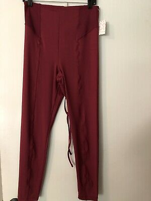 550a80af09286 Free People Avery LEGGINGS Pink Wine Size Medium M NWT tie high waist