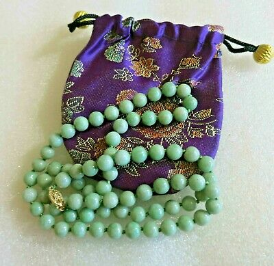 Vintage Antique Chinese Carved Jade Jadeite Beads 14kt Gold Necklace 24""