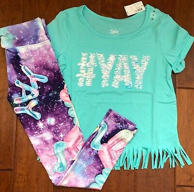 NWT JUSTICE Girls 8 10  Logo Lace Up Tee /& Sport Dolphin Shorts Outfit