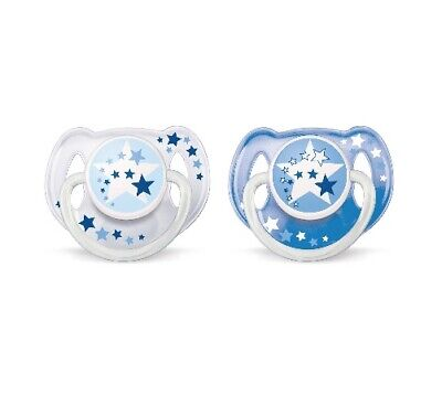 Philips Avent 2-Pack Orthodontic Glow in the Dark Nighttime Pacifier Size 6-18M