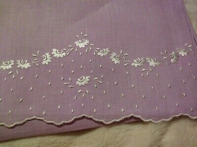 """Wow Madeira Embroidered in Silver White on a Mauve Pink Linen Hand Towel 30x17"""""""