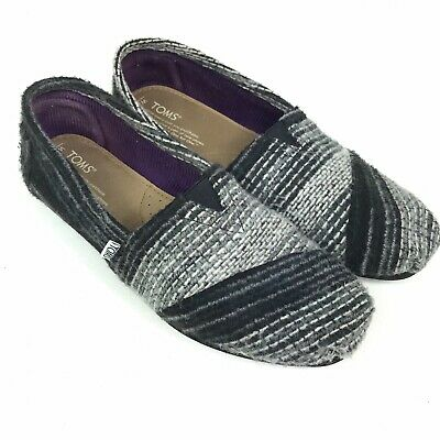 1eb2a7a112d Toms Classic Woven Wool Slip On Flats Shoes Womens Size 8.5 Black Gray