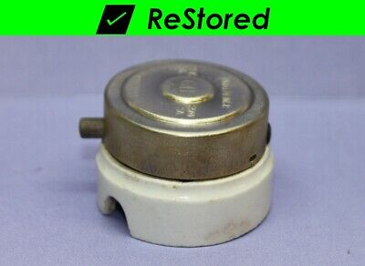 Vintage Side Push Button Light Switch - Round, Brass Porcelain, Single-Pole, C-H