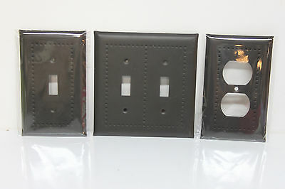 Black Steel Metal Wall Plates Covers - Single/Double Toggle Switch & Outlet