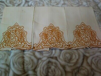"3 Matching Dark Mustard Embroidered & Cutwork Linen Hand Towels 11"" by 15"" ""FJB"""