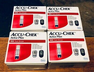 400 Accu-Chek Aviva Plus Diabetic Test Strips - 4 Boxes of 100 - Exp 06-30-2019+