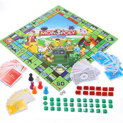 New Pokemon Monopoly Monster Pikachu  Family Board Game Party Toys Gifts