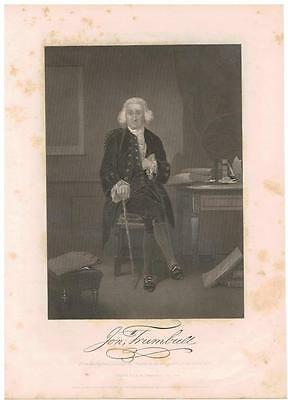 Jonathan Trumbull 1862 Steel Engraving Print Governor of Connecticut 1776