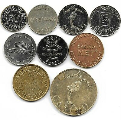 world lot of 9 casino jetons tokens coins
