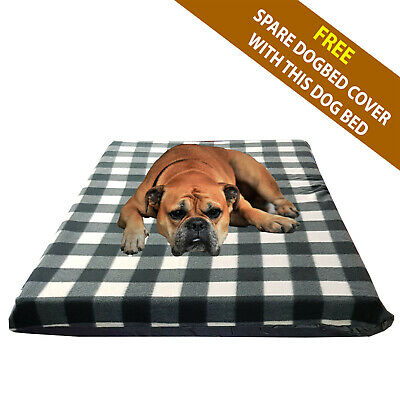 Cosipet® Large Waterproof Foam Pad Black/White Fleece Dog Bed Free Spare Cover