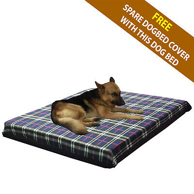 Cosipet® Large Waterproof Foam Pad Navy Plaid Fleece Dog Bed Free Spare Cover