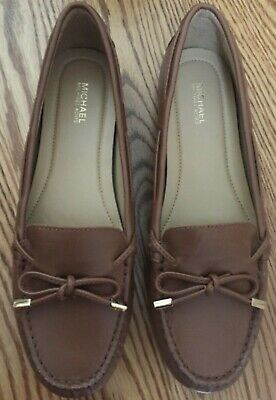 44e71e958c5a Michael Kors Daisy Brown Leather Moccasin Loafer Flats ~ Size 8.5 M ~ New