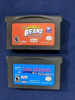 Mighty BeanZ: Pocket Puzzles/Barbie Horse Adventures: Blue Ribbon - Loose - GBA