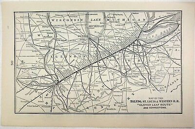 Original 1907 Map of the Toledo, St. Louis & Western Railroad. Antique
