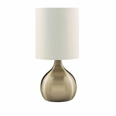 Searchlight Sleek Design Touch Table Lamp White Drum Shade - Antique Brass Base