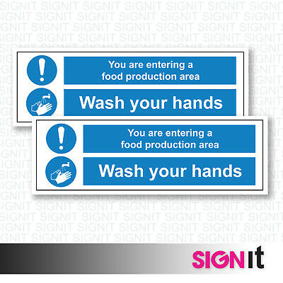 Wash Your Hands - Food Production Warning Sign Vinyl Sticker (50mm x 150mm)