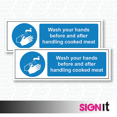 Wash Your Hands - Meat Handling Warning Sign Vinyl Sticker (50mm x 150mm)