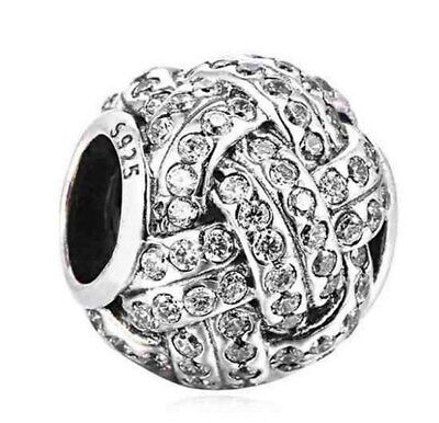 Knotted Hearts Love Charm Bead Sparkling Love Knot With Clear Cubic Zirconia