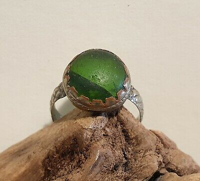 Antique Post Medieval Near Eastern Ring with Green Glass Stone