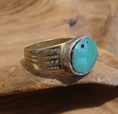 Antique Post Medieval Near Eastern Ring with Green Stone