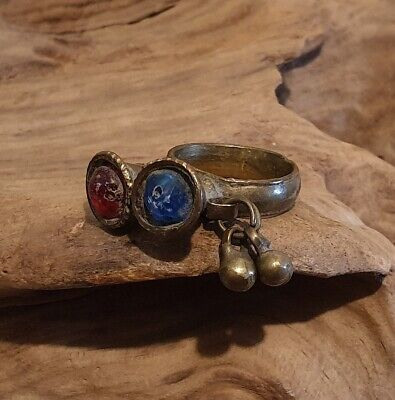 Antique Unusual Post Medieval Near Eastern Ring with Red and Blue Gemstones