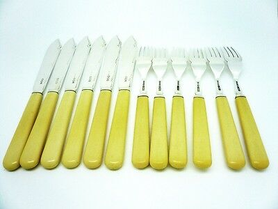 Silver Fish Cutlery, Sterling, 6 Knives, 6 Forks, Flatware, Hallmarked 1937