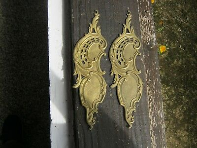 Antique Pair French Bronze Ormolu Pediment Furniture Mounts