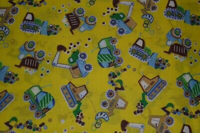 "48""  X 42""  Tractor And Diggers  Fabric Yellow  Background  (B25 Pk20)"