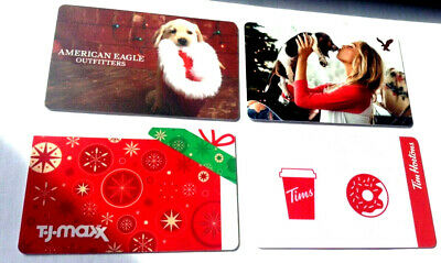 AMERICAN EAGLE + T.J Maxx tim hortons X4 RECHARGEABLE GIFT CARD,,NO VALUE