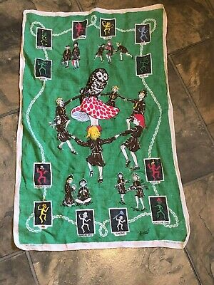 rare Vintage tea towel girl guides Irish Linen made in ireland
