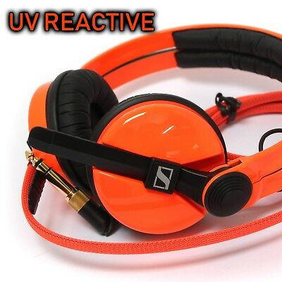 Custom Cans UV reactive neon Orange Sennheiser HD25 Headphones with 2yr warranty