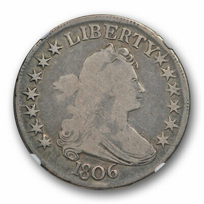 1806 Draped Bust Half Dollar O-121 50C NGC F 12 Fine Pointed 6, With Stems