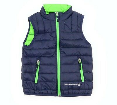 FREE COUNTRY Boys Full Zip Down Puffer Vest Navy Blue Green Size XS 5 / 6 NEW
