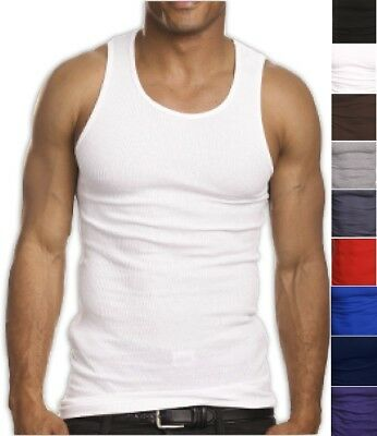 New Mens 2 Pack Plain Wife Beater Style Plain Gym Sport Running Holiday Vest Top