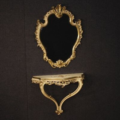 Console Mirror Furniture Small Table Mirror Wood Lacquered Golden Antique Style