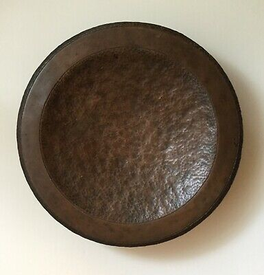 Antique hammered copper bowl/ footed/ arts and crafts