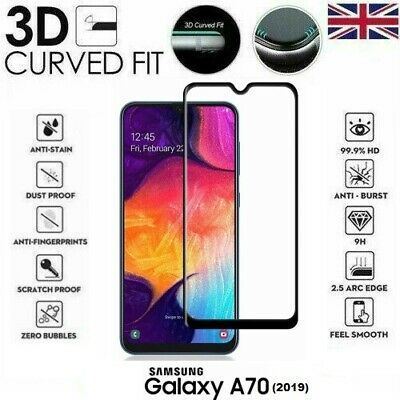 For Samsung Galaxy A70 (2019) 3D Tempered Glass LCD Screen Protector Black