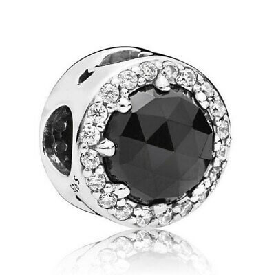 925 Sterling Silver Disne Evil Queen's Black Magic Charm Black Crystals Clear CZ