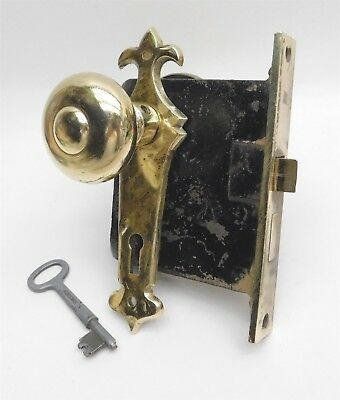 Vintage Antique Mortise Entry LOCKSET Brass Knobs w/  Skeleton Key & Escutcheons