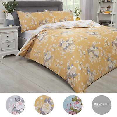 Dreamscene English Rose Duvet Cover with Pillow Case Bedding Set, Grey Duck Egg