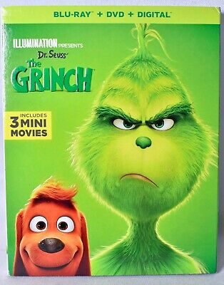 Dr. Seuss' THE GRINCH Blu-ray + DVD + Digital + 3 Mini Movies >NEW< W/ Slipcover