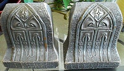 Pair*Antique Pewter Painted Gesso Overlay On Wood~Arts & Crafts~Nouveau Bookends