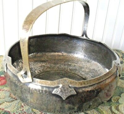 RARE*ARTS & CRAFTS*MISSION*silverplated*HAMMERED COPPER*BASKET~RIVETED HANDLE