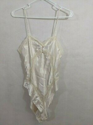 caed16e13 Vintage Teddy Lingerie White Lace S Vtg Snap Sexy One Piece Cutout Wedding