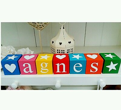 Shabby Chic personalised name letter baby christening wooden blocks gift