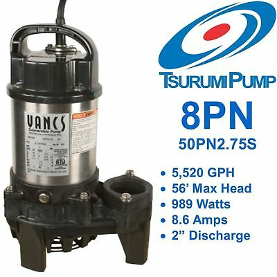 "Submersible Stainless Steel Pond/Fountain Pump Tsurumi 8PN - 87 GPM 1 HP (2"")"