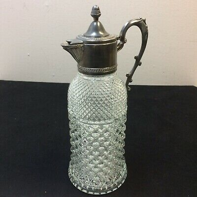 VTG‼ ANTIQUE WINE LARGE GLASS DECANTER CARAFE JUG SILVER PLATED LID ITALY 1880's